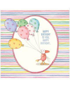 Birthday Card- Bird & Balloons