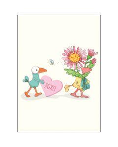Mini card - XOXO heart, birds & flowers