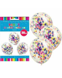 Confetti Balloons - with Colourful Confetti (pack of 3)