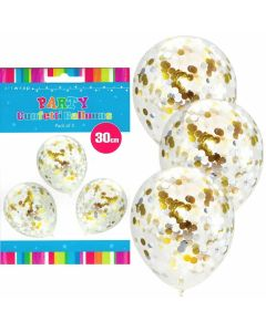 Confetti Balloons - with Gold & Silver Confetti (pack of 3)