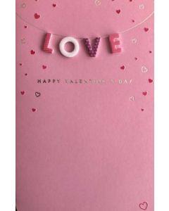 Valentine Card - LOVE on Pink
