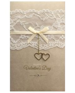 Valentine Card - Gold Hearts & Lace