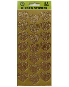Seals/Stickers - Gold Gilded Hearts (PK 21)