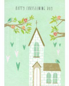 CHRISTENING Card - Church & Hearts
