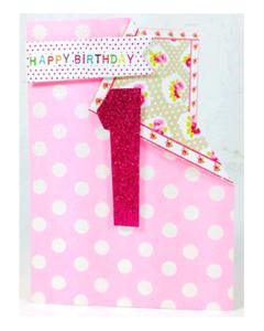 AGE 1 Card - Pink Glitter '1'