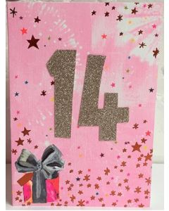 AGE 14 - Sparkly gold '14' on pink