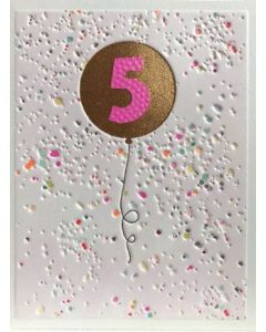 Age 5 - Pink '5' in gold balloon