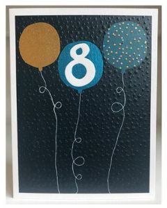 Age 8 - Balloons on dark blue