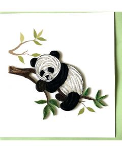 Panda on branch - Paper Quilling card