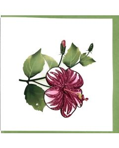 Red hibiscus flower - Paper Quilling card