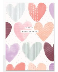 Anniversary - Embossed coloured hearts