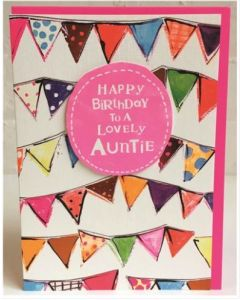 Auntie Birthday - Colourful flag bunting