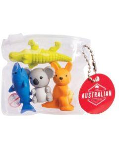 Aussie animal erasers - set of 4
