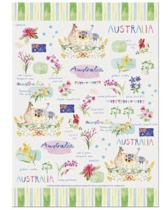 Australia Down Under Tea Towel