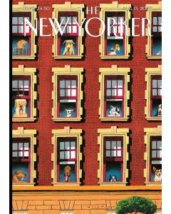 The New Yorker Cover - Dogs in Windows