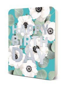'Happy Birthday' - White Flowers