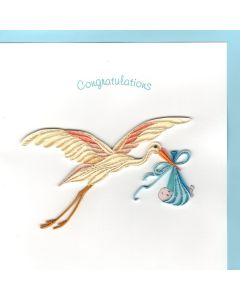 BABY Boy Card -  Stork Quilling