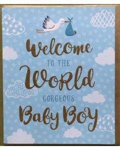 Baby Boy - Welcome Stork on blue