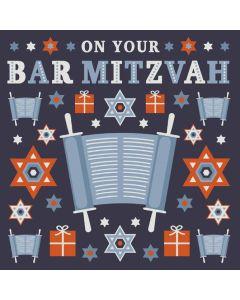 Bar Mitzvah - Torah & Stars & gifts on navy