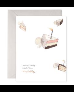 Birthday Card - Flying Cake
