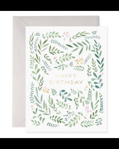 Birthday Card - Leaves & Berries