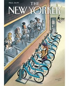 Bikes in gym & street - New Yorker Cover