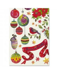Bird and Ornaments Box of Christmas cards