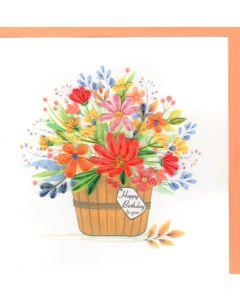 Quilling Card - Birthday Flower Pot