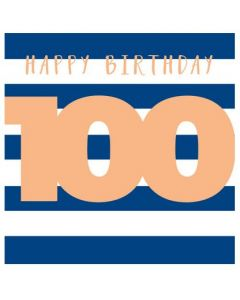 100th Birthday - Navy & white stripes