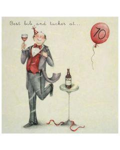 70th Birthday - Red balloon & wine