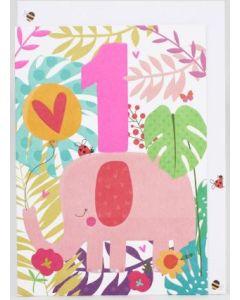 AGE 1 Card - Pink Elephant
