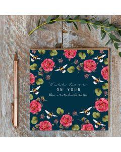 Birthday Card - Bees & Roses