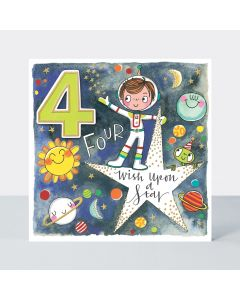 AGE 4 Card - Spaceman 'Wish upon a star'