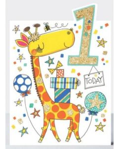 Age 1 - GIRAFFE with balloons & presents