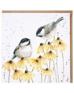 CARD - Birds on yellow flowers
