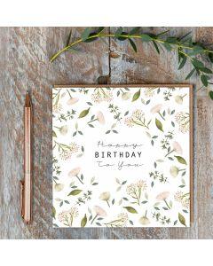 Birthday Card - Cream Flowers