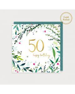 AGE 50 card - Gold 50 and greenery