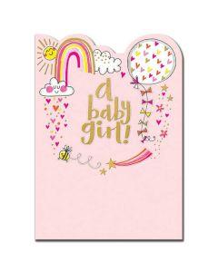 BABY GIRL card - Sunshine & rainbows on pink