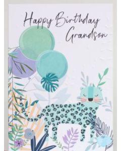 Grandson Birthday - Leopard & balloons