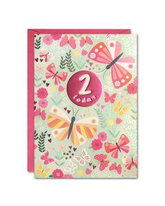 AGE 2 Card - Butterflies & flowers