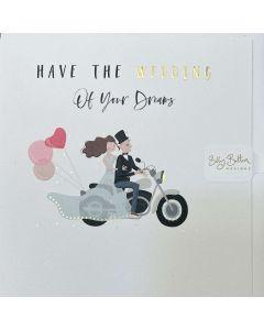 WEDDING card - Couple of motorbike