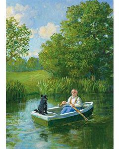 Man & Dog in Rowboat Card