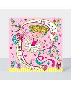 Jigsaw Card - 'Little Ballerina' on pink