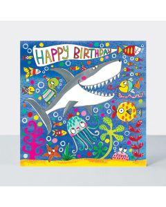 Jigsaw Card - Happy shark & sea creatures