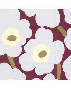 Paper Napkins - Unikko Bordeaux by Marimekko