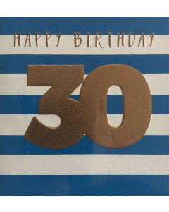 30th Birthday - Gold on blue & white stripe