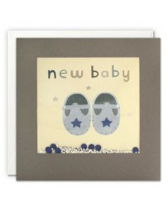 New BABY Card - Baby Booties with Sprinkles