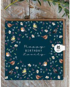 Birthday card - 'Lovely' Birds & Flowers
