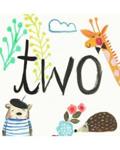 Age 2 - 'TWO' with giraffe & beret bear