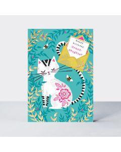 GRANDDAUGHTER Card - Cat in the Garden
